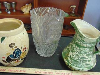 3 vases   ceramic   crock   glass