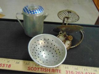 small colander   old hand mixer   coffee pot