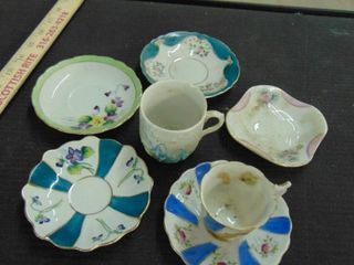 Japanese china plates and cup   gold trimmed