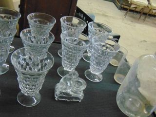 lot of cut glass glasses   cat candle holder   old glass jug