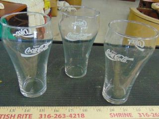 3 old Coca Cola glasses