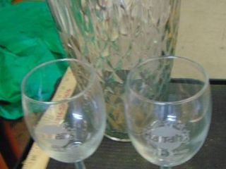 Harrah s wine glasses   large glass vase