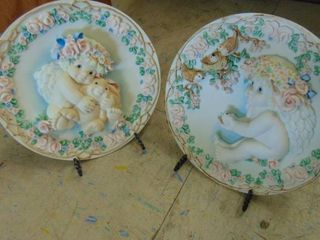 2 dreamsicle angel plates   numbered