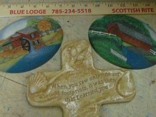 2 farm plates and footprints cross