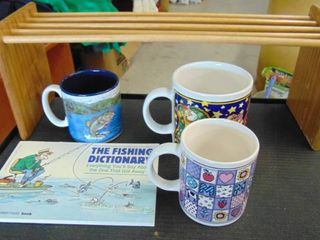 funny fishing book and coffee mug   coffee mugs