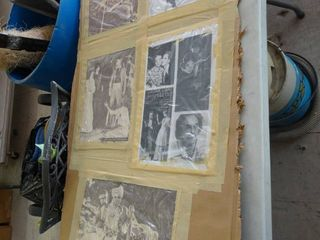 lot of Old Movie Pictures Attached to Cardboard