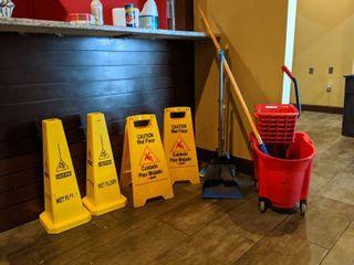 Moo Bucket, Wet Floor Signs, Brooms And Dust Pans