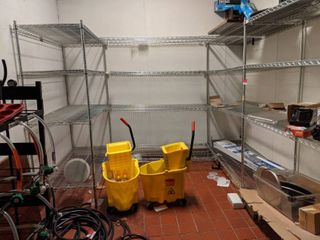Connected Shelving, Contents Included. Buyer Responsible For Removal