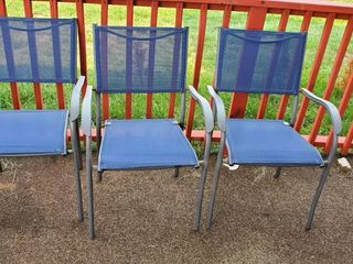 (3) Blue Patio Chairs