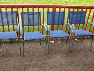 (4) Blue Patio Chairs