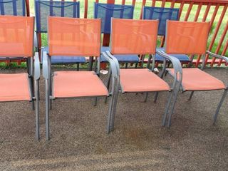 (4) Orange Patio Chairs
