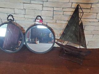 (2) Round Mirrors , Sailboat