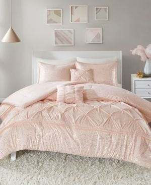 Intelligent Design Everly Blush  Gold Metallic 5 piece Comforter Set