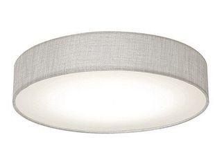 2  Ashland 12 inch White lED Flush Mount  Grey Fabric Shade  Retail 112 49