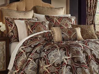 Gracewood Hollow Ronyoung 4 piece Red Brown Jacquard Comforter Set  Retail 253 99