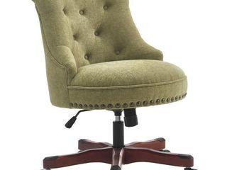 Bond Office Chair Green Fabric  Dark Walnut Finish Wood Base  Retail 217 49