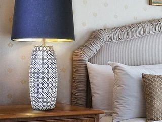 Blue   White Table lamp   Navy Blue Shade bulb base damaged