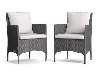 Handy living Hudson Indoor Outdoor Dining Chair   Set of 2