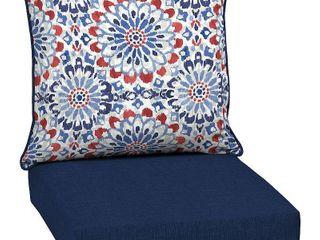 Arden Selections Clark Outdoor Deep Seat Set   46 5 in l x 25 in W x 6 5 in H   46 5 in l x 25 in W x 6 5 in H   Blue Floral