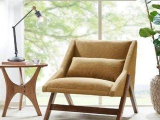 Carson Carrington Turi Mustard Yellow  Pecan lounge Chair  Retail 382 99