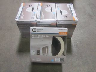 1 Case - Commercial Electric 4 in. Black Ultra Low Glare Mini Step Integrated LED Recessed Trim (4 Total) 53196101