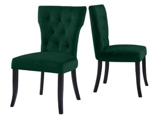 Handy Living (2 CHAIRS) Cristina Emerald Green Armless Dining Chairs Velvet A144193