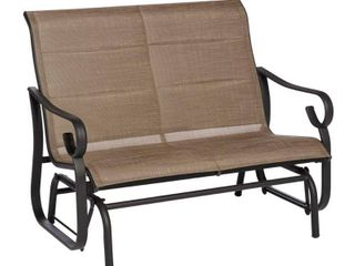 Hampton Bay Crestridge Steel Padded Sling Outdoor Patio Glider in Putty Taupe FCS60619RL