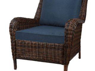 Hampton Bay Cambridge Brown Stationary Wicker Outdoor Lounge Chair with Blue Cushions 65-17148B1