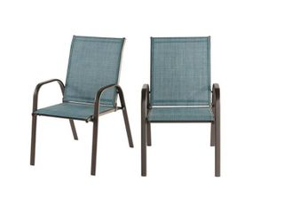 Hampton Bay (2-Pack) Mix and Match Dining Chair in Conley Denim Blue FCS00015Y-2PKDN
