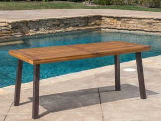 Noble House DellaTeak Finish Rectangle Wood Outdoor Dining Table 7367