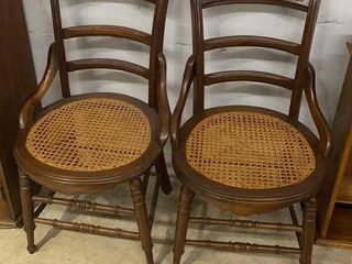 2 Hip Rest Chairs W Cane Bottoms