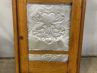 Oak Medicine Cabinet With Tin Insert: Needs Repair