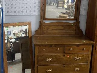 4 Drawer Oak Dresser W Mirror: 43
