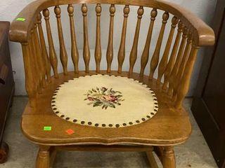 Oak Rocker W Needlepoint Seat