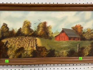 Framed Farm Scene: Apx 24