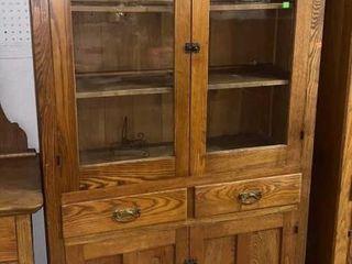 Oak Cupboard W Glass Insert Doors: 38