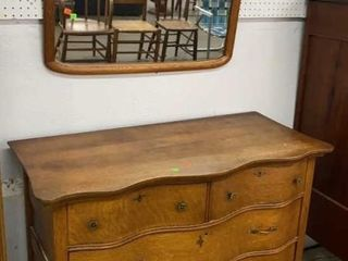 Bow Front Dresser And Mirror 44x21x33