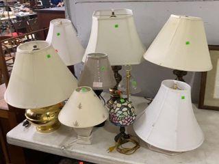 8 Lamps W/ Shades, 2 Extra Shades