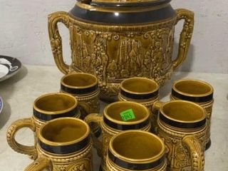 Rumtopf Castle Stoneware Punch Bowl And 8 Mugs