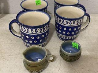 4 Polish Mugs, Wade Cream And Sugar