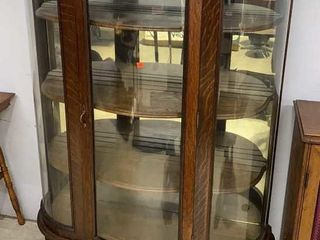 Oak Bow Front China Cabinet W Mirror Back & Wood