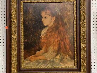 Framed Print On Board Of Girl