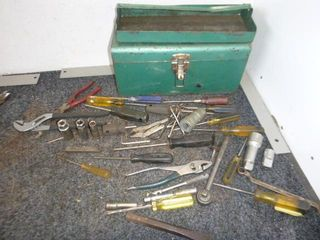 Green Metal Toolbox with Sockets, Screwdrivers et