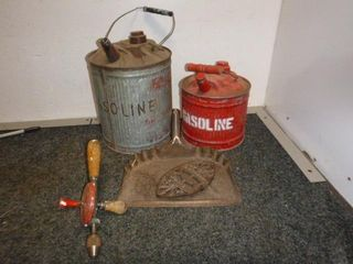 2 Antique Oilcans, Handdrill, Dustpan etc.