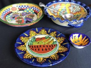4  Mexican Style Colorful Bowls   Plate