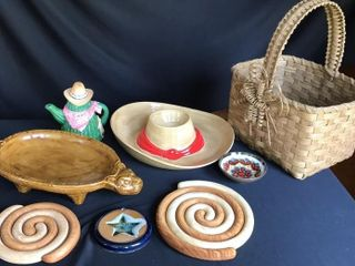 Wood Spiral Trivets  Hat Dip Dish  Cactus Teapot