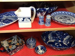 Blue   White Glassware  Platters  Bowls