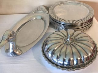 Pewter Pumpkin Pie Dish   12  Chargers