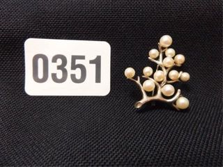 Mikimoto Sterling Pearl Tree Brooch