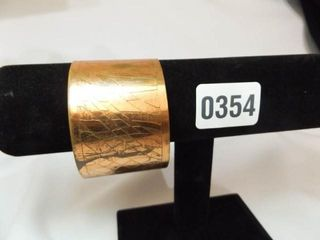 Copper Tone Patterned Bangle